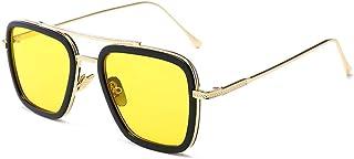 نظارات FSIGOM، إطار معدني مربع الطيار عتيق للنساء نظارات شمسية كلاسيكية لشخصية داوني أيرون مان توني ستارك