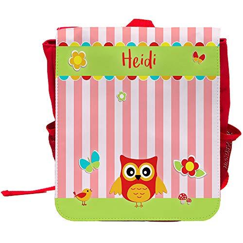 Kinder-Rucksack mit Namen Heidi und schönem Eulen-Motiv für Mädchen