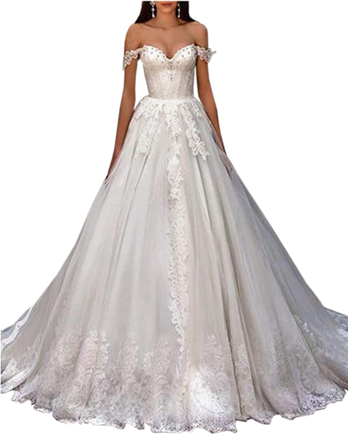 ONLYCE A Line Off Shoulder Beaded Long Wedding Dress with Appliques