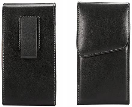 Cell-Stuff Vertical Black Smooth Leather Case for BlackBerry KEY2 Belt Holster Pouch w/360 Degree Swivel Belt Clip & Magnet Flap