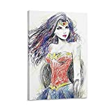 Wonder Woman Line Sketch Pintura de moda Pop Girl Room Poster Pintura Regalo de cumpleaños Ideas de regalos divertidos 40 x 60 cm