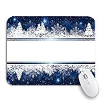 NINEHASA 可愛いマウスパッド ブルーボーダー抽象冬雪片星とクリスマスツリー滑り止めゴムバッキングコンピュータマウスパッド用ノートマウスマット