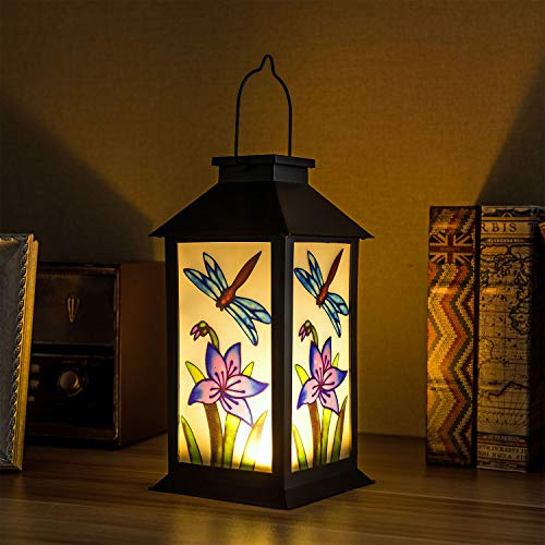 Solar Lanterns Outdoor Hanging Solar Lights Decorative for Garden Patio Porch and Tabletop Decorations with Dragonfly Pattern.