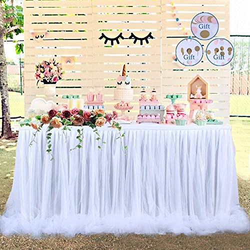 【Versión de actualización】Falda de mesa Falda de tul de mesa Tul de tutú largo Elegante nylon de mesa de tela , para fiestas, bodas, decoración y Baby Shower (Blanco)