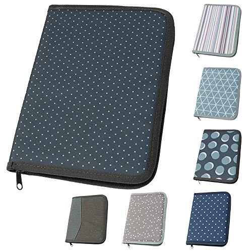 Mom's Organizer für Mutterpass & U-Heft dunkelgrau mit kleinen Punkten (Farbe wählbar) | Hülle mit Rundum-Reißverschluss in A5 als Uheft- und Mutterpasshülle (2in1)