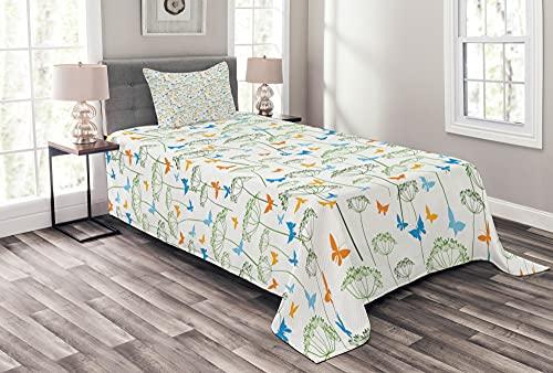 ABAKUHAUS Green Abstract Tagesdecke Set, Kräuter & Schmetterling, Set mit Kissenbezügen Klare Farben, 170 x 220 cm, Weiß & Multicolor