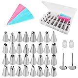 Gobesty Cake Decorating Set, 32 Pcs Stainless Steel Piping Nozzles Cake Decorating Accessories with 2 Reusable Piping Bags, 2 Coupler, 2 Flower Nails and Storage Case for Cakes Cupcakes Cookies Pastry