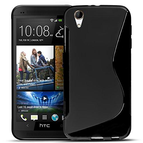 Conie SC5767 S Line Hülle Kompatibel mit HTC Desire 728G, TPU Smartphone Hülle Transparent Matt rutschfeste Oberfläche für Desire 728G Rückseite Design Schwarz