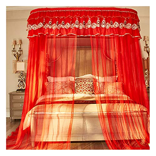 LKH Canopy Bed Curtains for Girls - Landing Encrypted Mesh Tent Yarn - U-shaped Guide Rail - Red Mosquito Net for Bedroom Decoration(Size:for 1.5m/5 feet bed)