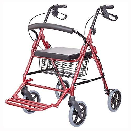 SYue Klappstuhl Elderly Walker Einkaufswagen Trolley Aluminium Allrad Kann Klapprollstuhl sitzen