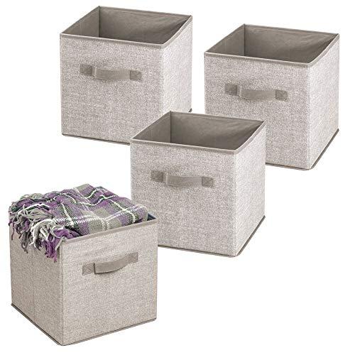 mDesign Juego de 4 organizadores de juguetes – Cajas de almacenaje para el cuarto de los niños o el dormitorio principal – Práctico guarda juguetes con asa – Color: beige
