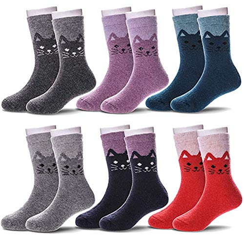 NFACE 6 Paare Kinder Winter warme Wollsocken Kinder Jungen Mädchen Socken Katze 4-7 Jahre 16-18cm