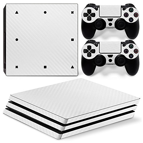Mcbazel Pattern Series Vinyl Skin Sticker For PS4 Pro Controller & Console Protect Cover Decal Skin (White Carbon Fiber)