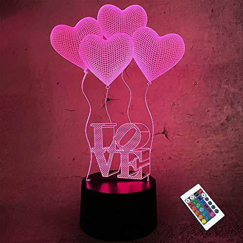 CooPark Liebe 3D Lampe Herz Nachtlicht mit Fernbedienung, LED-Illusionslampe 16 Farben Wickeltisch neben Schlafzimmer Valentinstag Dekoration Optische Lampen Geschenke für Mädchen