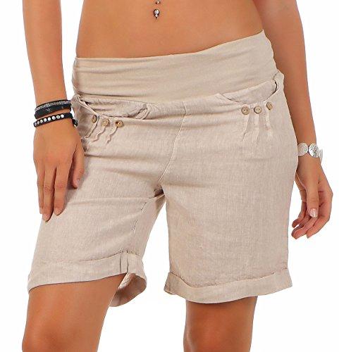 malito more than fashion Malito Damen Bermuda aus Leinen | lässige Kurze Hose | Shorts für den Strand | Pants - Hotpants 6822 (beige, S)