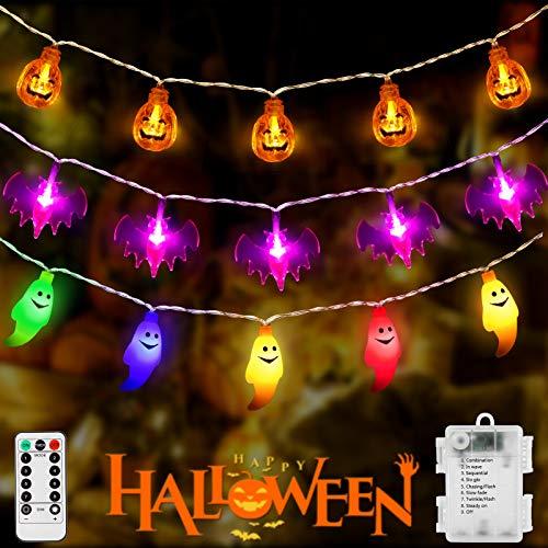 Litake Halloween Lichterkette 3 Stück, 9M 90LED Halloween Lichterketten Warmweißer Kürbis + Lila Fledermäuse + Bunt Geist Batterie Fernbedienung Halloween Deko Licht für Außen Innen Party