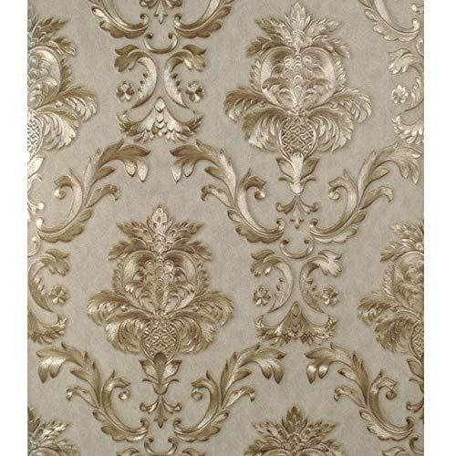 Papel Pintado Beige Gris Dorado Textura Clásico 3D Papel Tapiz Dormitorio Sala de Estar Decoración Del Hogar Wp40937