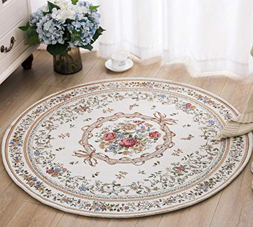 YuQiang Pastoral Circular Doormat Water Wash Tihua Carpet Ceiling Chair Swivel Chair Chair Chair Cushion Bedroom Foot Mat Modern Fashion Non-Slip Floor Mat,180cm*180cm