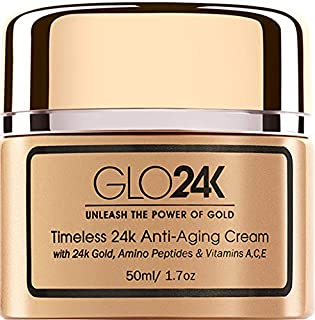 GLO24K Timeless Age-Defying Cream with 24k Gold, Retinol, Peptides, and Vitamins A,C,E.