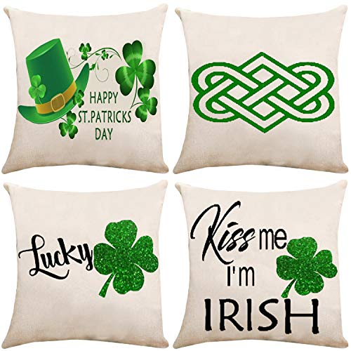 ZUEXT Happy St. Patrick's Day Throw Pillow Covers 16x16 Inch, Set of 4 Lucky Green Shamrock Clover Hats Cotton Linen Burlap Outdoor Cushion Pillowcases for Sofa Car Chair Home Decor(Kiss Me I'm Irish)