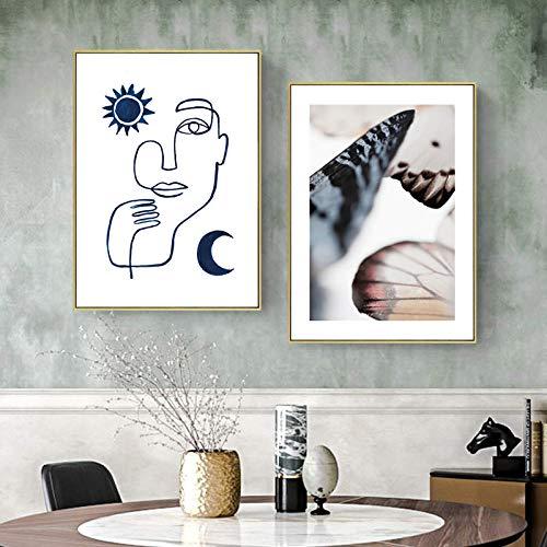 CDERFV Estilo nórdico Cara Abstracta Mariposa Póster Impresión Floral Lienzo Arte de la Pared Pintura Fotografía Decoración del hogar Imagen-40x60cmx2 (sin Marco)