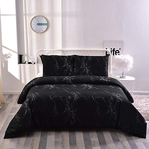 "Yasosing Home Bedding 3 Piece Duvet Cover Set Hypoallergenic Brushed Microfiber Modern Geometric Black Marble Pattern Printed Bed Comforter Cover(1Duvet Cover+2 Pillowcases) Full/Queen Size (90""x90"")"