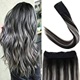 LaaVoo 16' Adjustable Invisible Wire Halo Hair Extensions Balayage Ombre Off Black to Grey Silver Halo Remy Human Hair Extensions Flip on Invisible Wire 80g/Pack 11inch Width