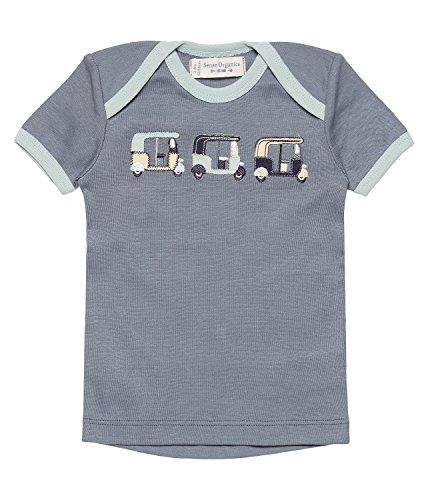 SENSE ORGANICS Tilly Retro T-Shirt GOTS, Multicolore (Blue + Rickshaw Applique 200077), 68 cm (Taille du Fabricant: 3M) Bébé garçon