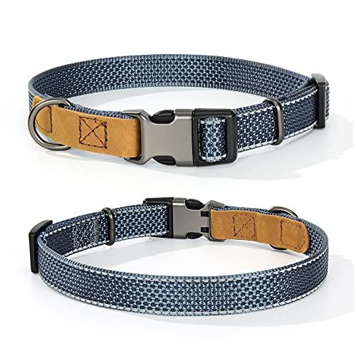 """Mile High Life Reflektierendes Nylon Hundehalsband für kleine Hunde und mittelgroße Hunde Halsband für große Hunde und große Hunde aus Leder, Medium Neck 13""""-17"""" -40 lb, anthrazit"""