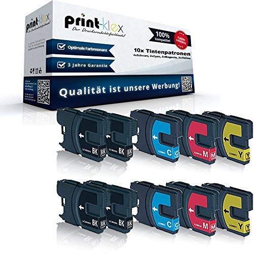 10x Kompatible Tintenpatronen Sparset für Brother DCP145C DCP163C DCP165C DCP167C DCP195C DCP197C LC980BK LC980C LC980M LC980Y - 4X Black, 2X Cyan, 2X Magenta, 2X Yellow Office Plus Serie