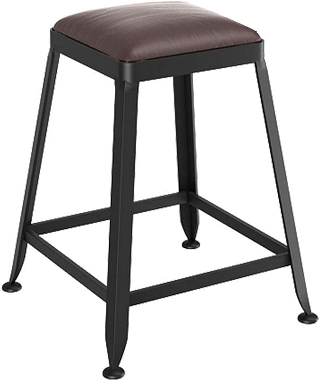 MEIDUO Chairs Bar Stool Iron Art Solid Wood Seat Padded Industrial Style Bar Chair High Stool for Counter Pub Kitchen - Backrest, Height Optional (color   B-No Backrest, Size   45cm)