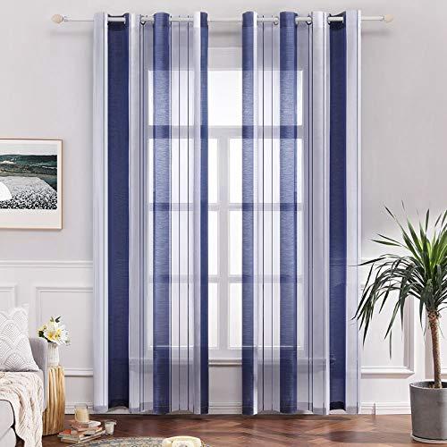 MIULEE Vorhang Voile Transparente Streifen Gardine aus Voile mit Ösen Schlaufenschal Ösenschals Halbtransparent Fensterschal für Dekoration Wohnzimmer Schlafzimmer 2er Set 140x225 cm Stripe Blau