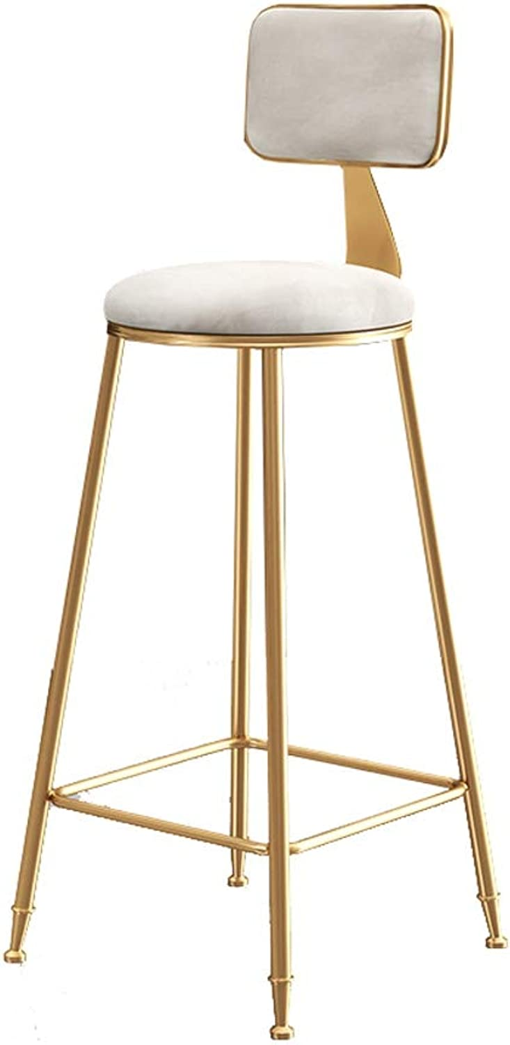 A+ golden Wrought Iron Lounge Chair, Home Back Dining Chair, Bar Counter High Stool,PP Material, 6 colors, 45cm  45cm   45cm  65cm   45cm  75cm (color   White, Size   75cm)