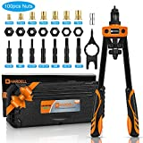 HARDELL Rivet Nuts Tool, 14' Hand Rivet Tool Kits with 100Pcs Rivet Nuts and 7 Metric & Inch Mandrels M6 M8 M10, 1/4-20, 5/16-18, 3/8-16, 10-24 and Rugged Carrying Case