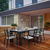 Modway Maine Aluminum 9-Piece Outdoor Patio Dining Set with 80' Dining Table and Eight Dining Armchairs in Brown Gray