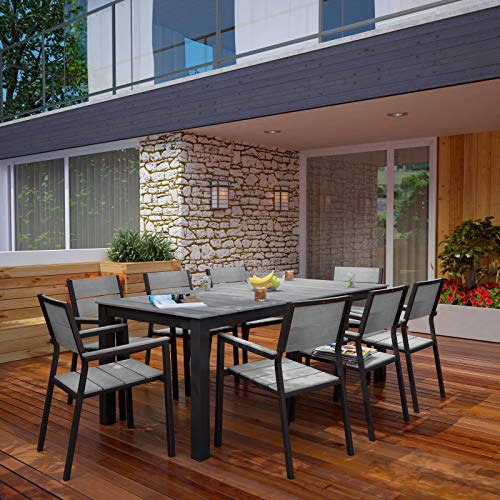 """Modway Maine Aluminum 9-Piece Outdoor Patio Dining Set with 80"""" Dining Table and Eight Dining Armchairs in Brown Gray"""