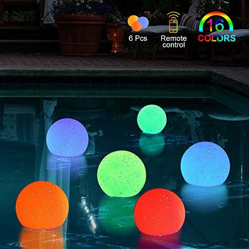 BLOOMWIN Schwimmende Poolleuchten Poolbeleuchtung schwimmendes Pool Licht Unterwasser Licht IP68 LED Leuchten mit RF Fernbedienung für Schwimmbad Teichbeleuchtung, LED SPA Licht (6er-Set)
