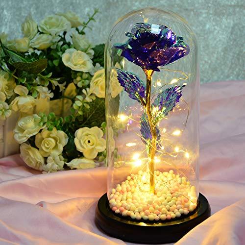 Heerda Rosa Eterna, Representa el Amor Eterno, Elegante Cúpula de Cristal con Base de Madera Luces LED Ideal para el Día De San Valentín/Día de La Madre/Aniversario/Boda/Regalo
