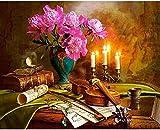 QIAOYUE Pintura por números para Sala de Estar Dormitorio decoración del hogar Pintura de Fondo Lienzo preimpreso de Bricolaje 40X50Cm (sin Marco)-partitura de violín
