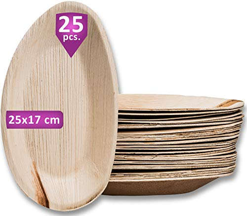 Waipur Piatti in Foglia di Palma Biologici – 25 Piatti Ovali Grandi 25 cm – Piatti usa e getta Eleganti di Alta Qualità – Leggeri ma Resistenti – Come Piatti di Bamboo