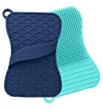 Teal Trunk Silicone Sponge and Scrubber - The Hygienic Sponge for Your Home - Odor, Mildew and Stain Resistant - Easy to Use, BPA Free Reusable Multipurpose Household Dish Scrubber, Navy/Aqua - 2 Pack