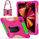 Herize iPad 12.9 Case 2020 with Screen Protector Pen Holder Swivel Stand Shoulder Strap | Full Body High Impact Resistant Kidsproof Drop Protection Rubber Case for iPad Pro 12.9 Rose Red Camouflage