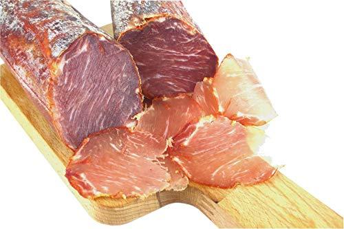 Lomo Iberico BELLOTA- luftgetrocknete Schweinelende vom Pata Negra Schwein mit Paprika, Lachsschinken, Schweinelachs, spanische Schinken-Spezialität am Stück, aus Freilandhaltung