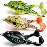 Topwater Frog Lure Bass Trout Fishing Lures Kit Set Realistic Prop Frog Soft Swimbait Floating Bait with Weedless Hooks for Freshwater Saltwater(Pack of 3)