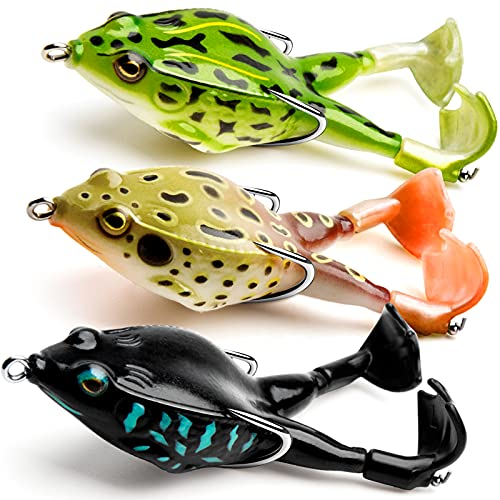 Topwater Frog Lure Bass Trout Fishing Lures Kit Set Realistic Prop Frog Soft Swimbait Floating Bait with Weedless Hooks for Freshwater Saltwater£¨Pack of 3£