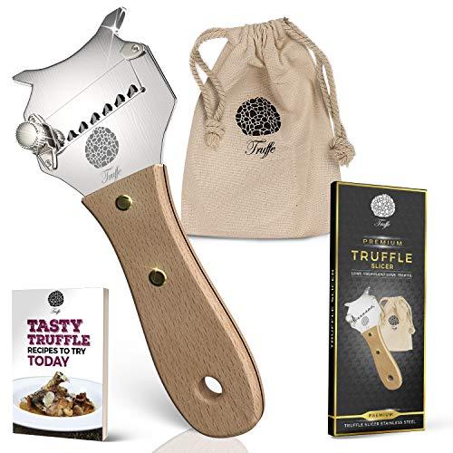 5☆ Truffel Slicers met Premium Glossed Rosewood en Beechwood Handvat. Inclusief chique stoffen tas en recept E-Book. Onze chocolade scheerapparaat scheert ook kaas, knoflook en groente! Roestvrij staal Beechwood