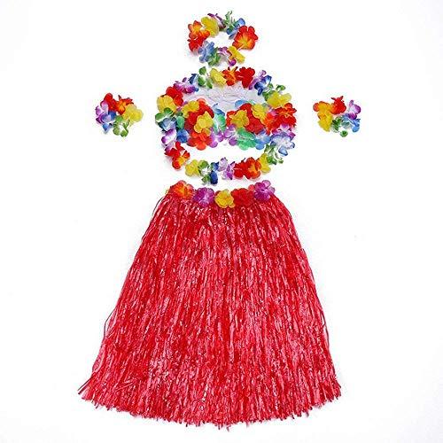 PULABOFancy Hawaiian Grass Hula Skirts Sets Hula Skirt Dress Costume Elastic Flower Bracelets Headband Necklace Party Supplies for Beach Party Decorations Yellow Creative and Useful
