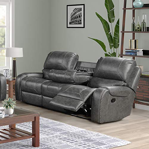 Roundhill Furniture Achern Leather-Air Nail Head Manual Reclining Sofa with Storage Console, Gray