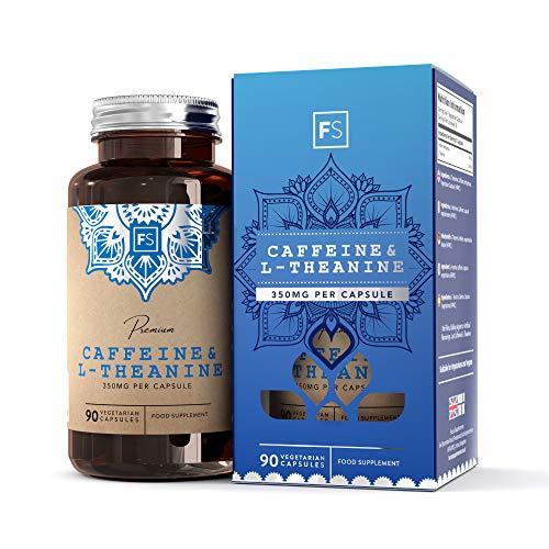 Cafeina 100 mg/L-Teanina 250 mg Fórmula de Productividad de Focus Supplements | Capsulas Vegetarianas - Fabricado en instalaciones con Licencia ISO (1 Botella)