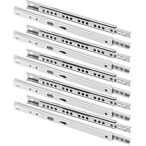 FURNICA 10 Schubladenschienen Teilauszug Rollenauszug Teleskopschiene Kugelführung H17 / L: 214mm